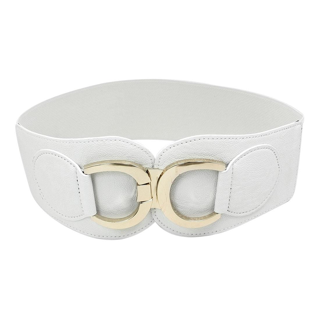 Fashionable C Shape Interlocking Buckle Spandex Waistbelt White for Women Ladies