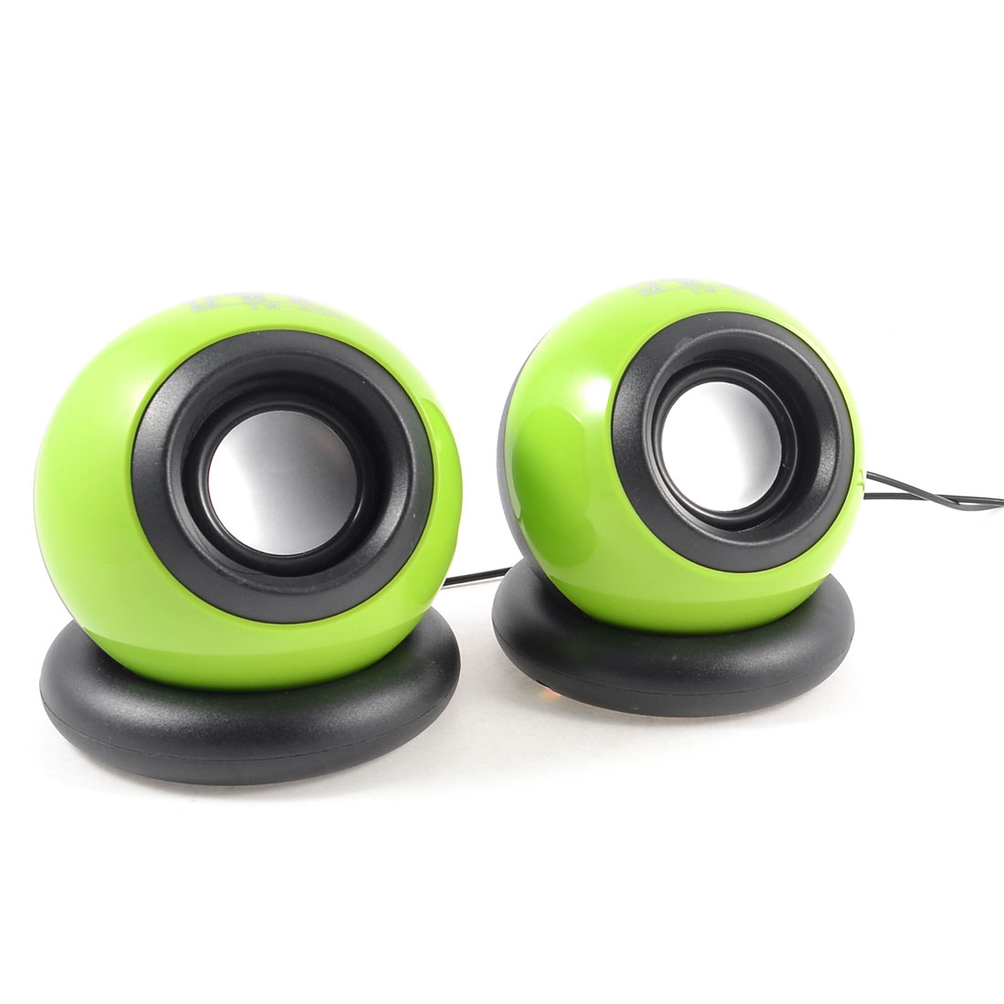 2 Pcs Green Black Computer USB 2.0 3.5mm Ball Shape Mini Sound Box Speaker