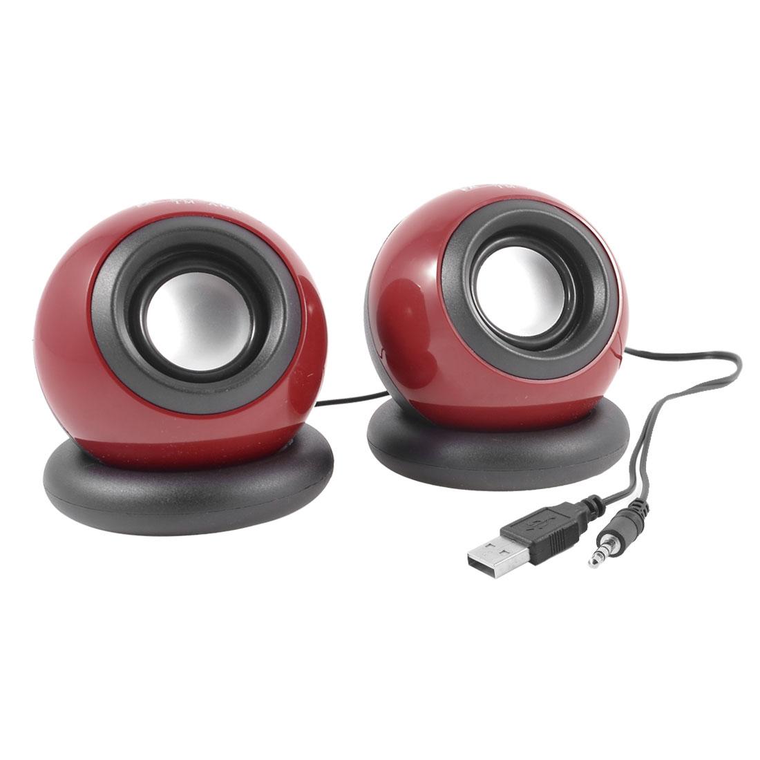 Pair 3.5mm Red Black Ball Design Computer Laptop MP3 MP4 Mini Speaker