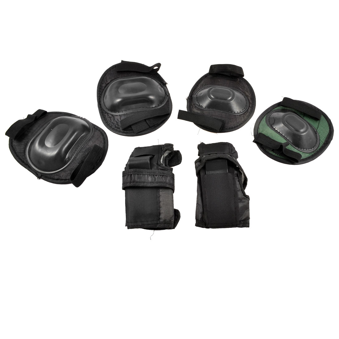Sports Protector Knee Elbow Palm Pads Black 3 Sets