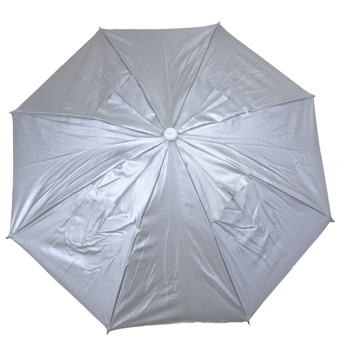 Silver Tone Hands Free Metal Frame Foldable Fishing Umbrella Hat