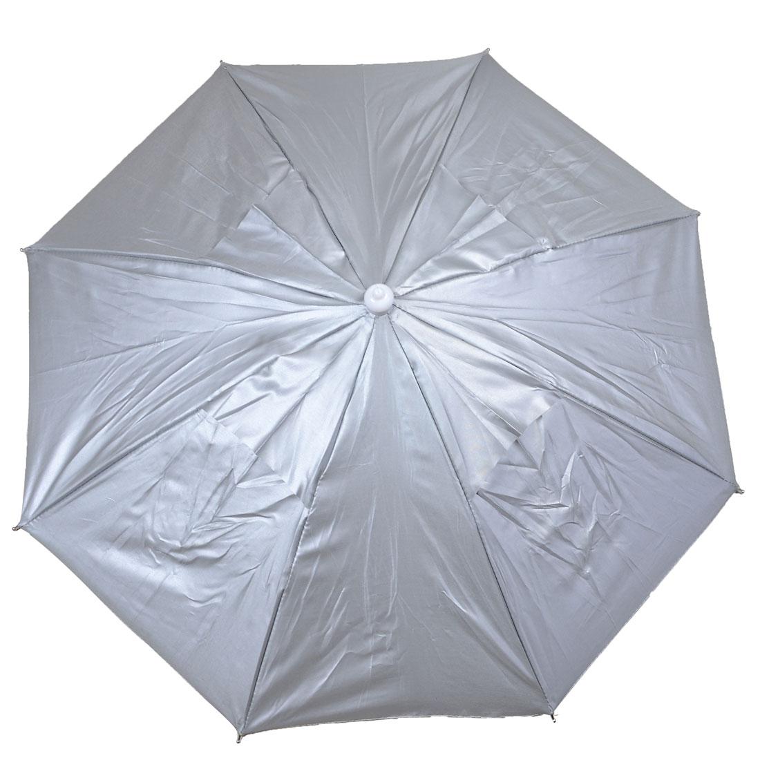 Silver Tone Hands Free Metal Frame Folding Fishing Umbrella Hat