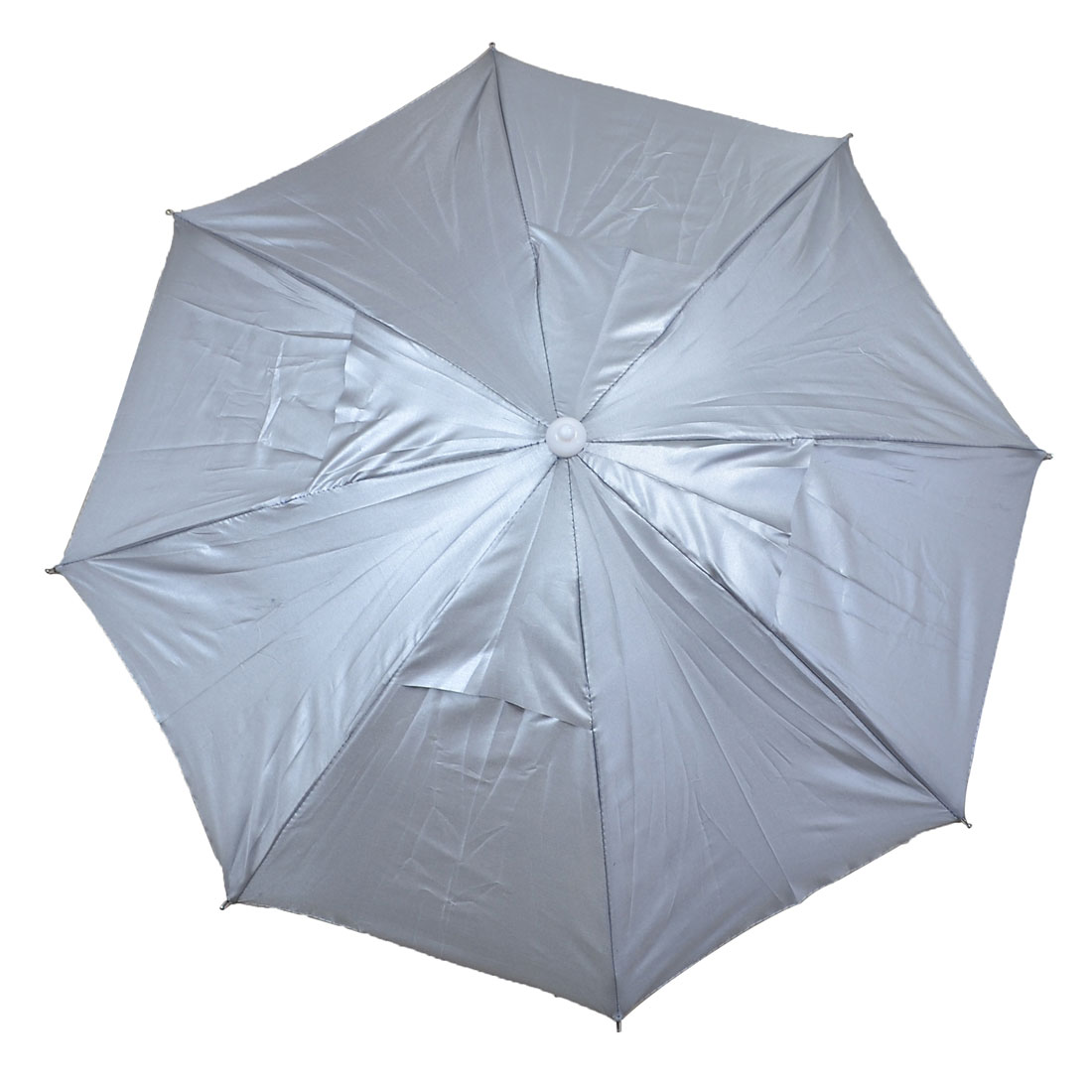 Outdoor Metal Frame Hands Free Foldable Fishing Umbrella Hat Silver Tone