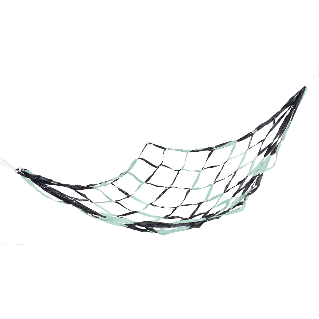 Outdoor Hiking Baby Blue Black Polyester Netty Sleeping Bed Hammock 2.1M x 1.5M