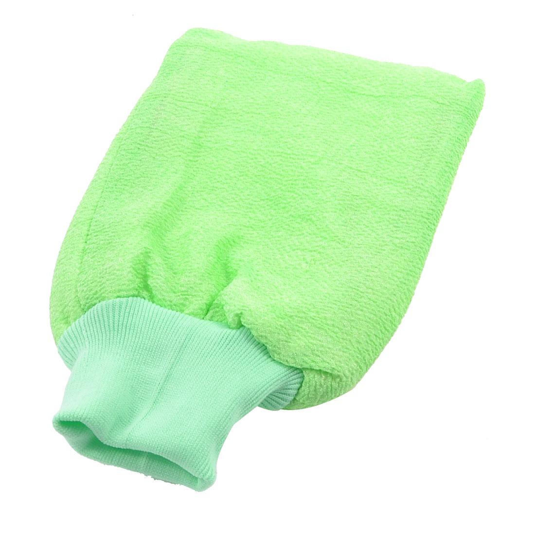 Bathroom Double Sides Bathing Bath Towel Washcloth Glove Light Green