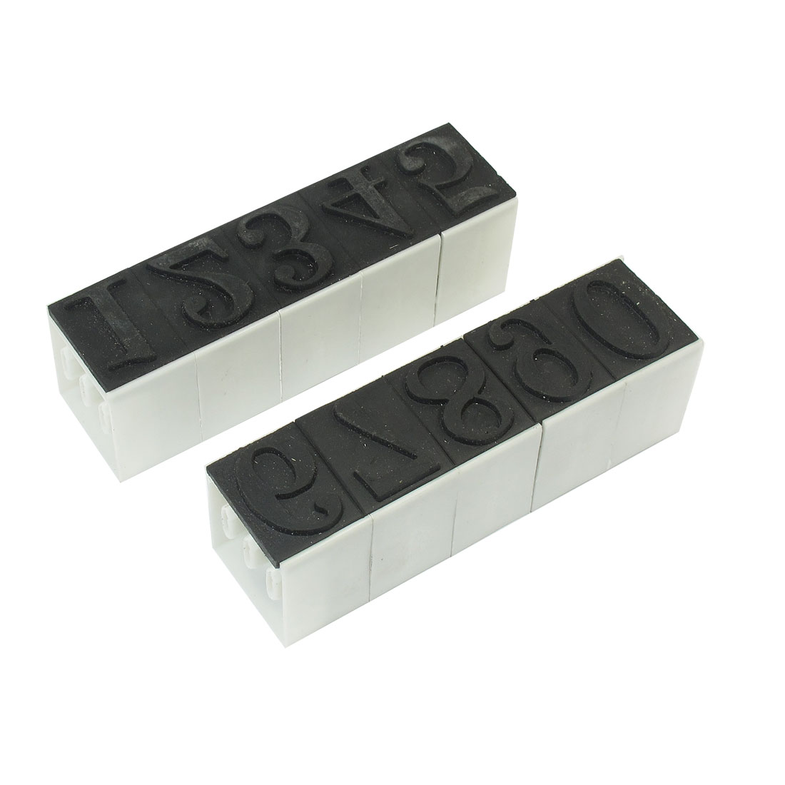 Black White 28mm x 19mm 0-9 Munber Rubber Base Plastic Digital Stamp Seal for Financial
