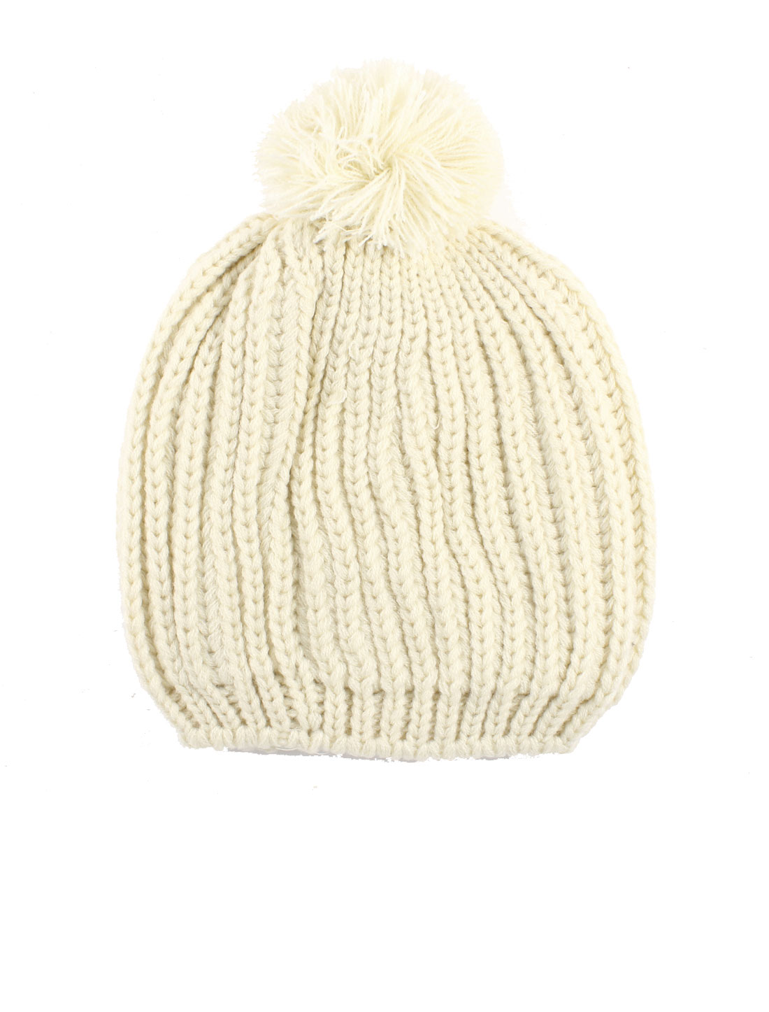 Ladies Beige Pom Pom Top Ribbed Knit Winter Warm Bobble Beanies Cap