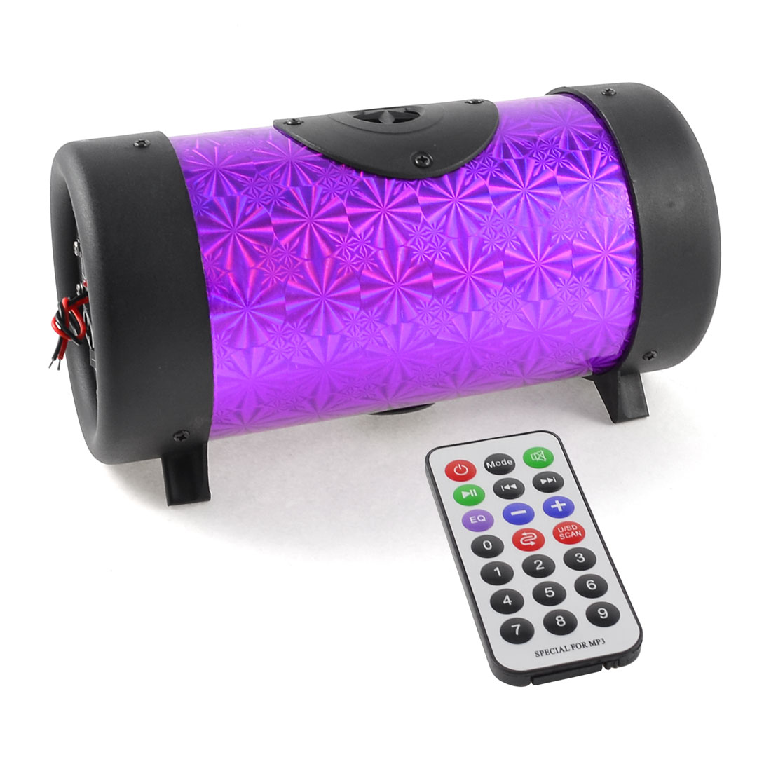 USB/SD Port Purple Cylinder Stereo Audio Speakers Player + Romote Controler