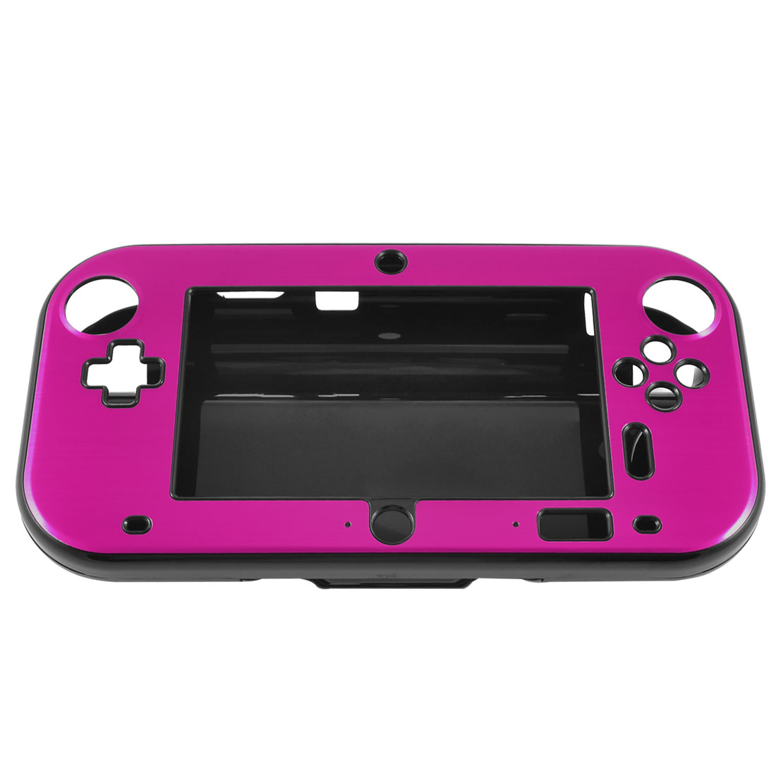 Fuchsia Aluminum Coated Black Hard Case Cover for Nintendo Wii U Gamepad
