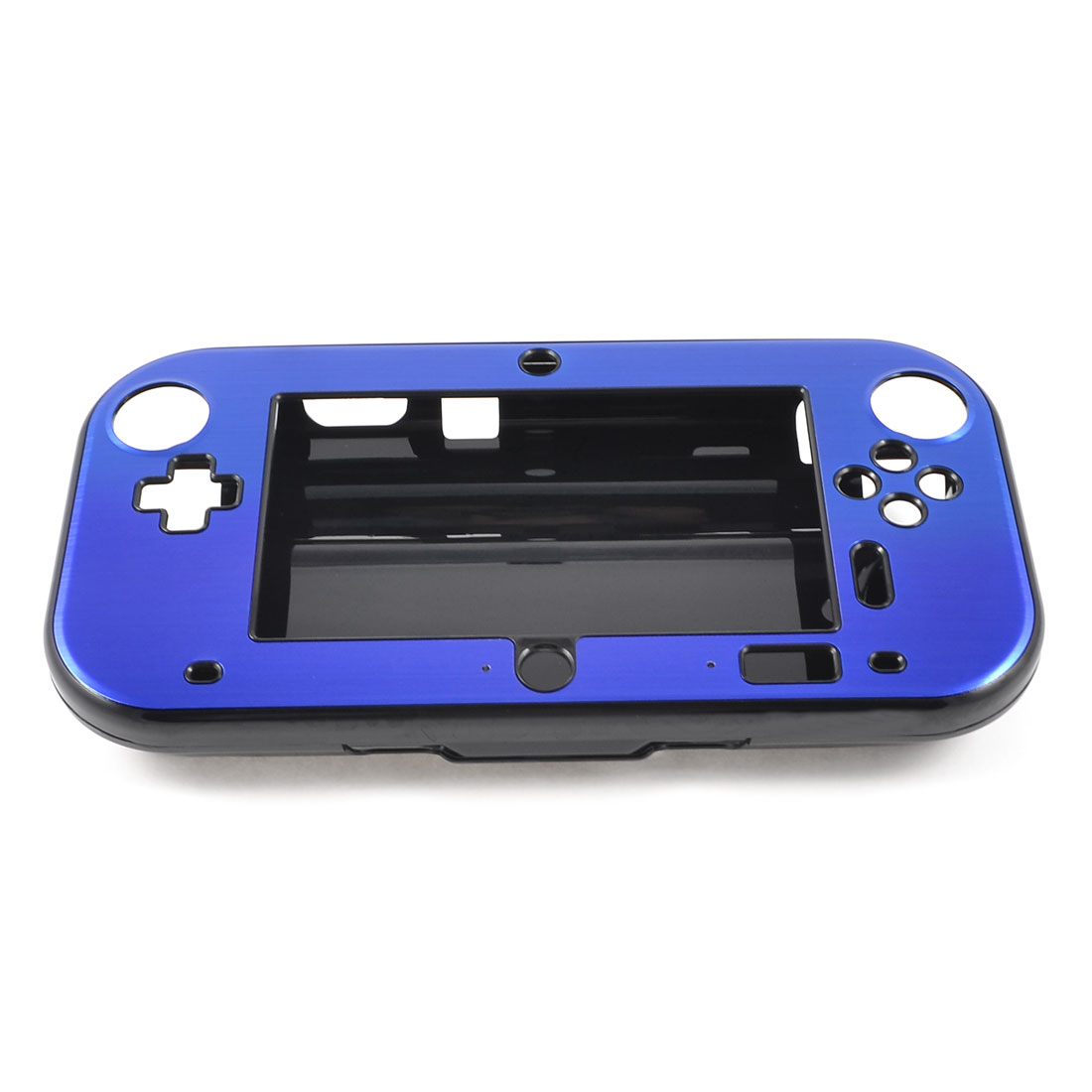 Blue Aluminum Coated Black Hard Case Cover for Nintendo Wii U Gamepad