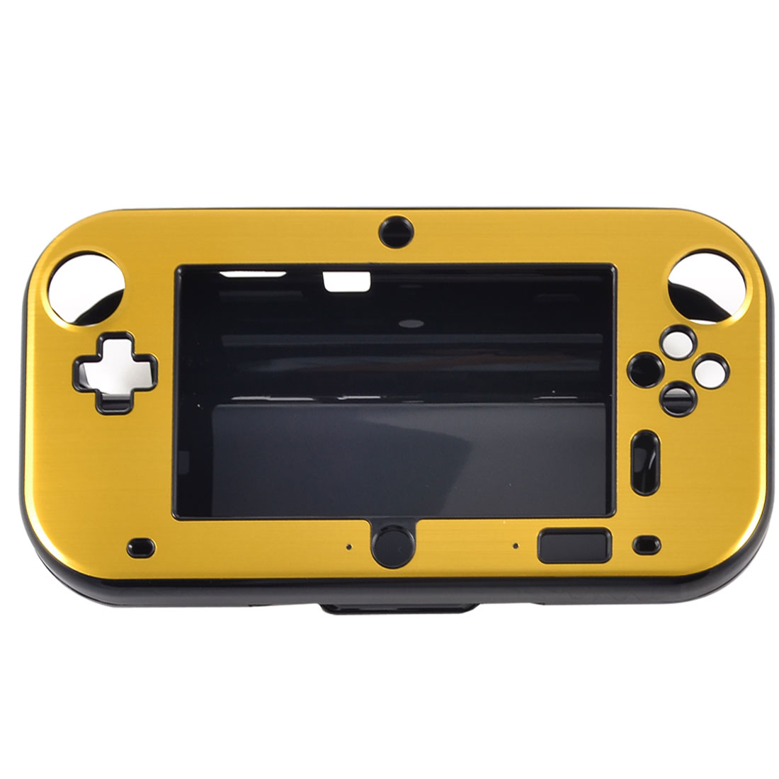 Gold Tone Aluminum Coated Black Hard Case Cover for Nintendo Wii U Gamepad