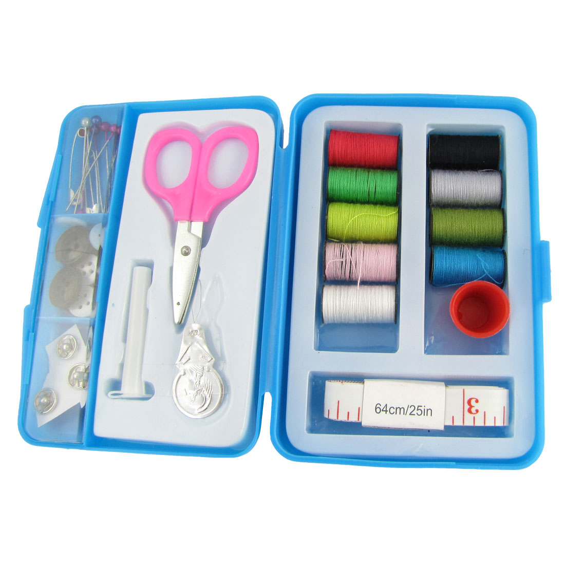 Thread Spool Beaded Pin Measuring Tape Mini Scissors Portable Sewing Kit