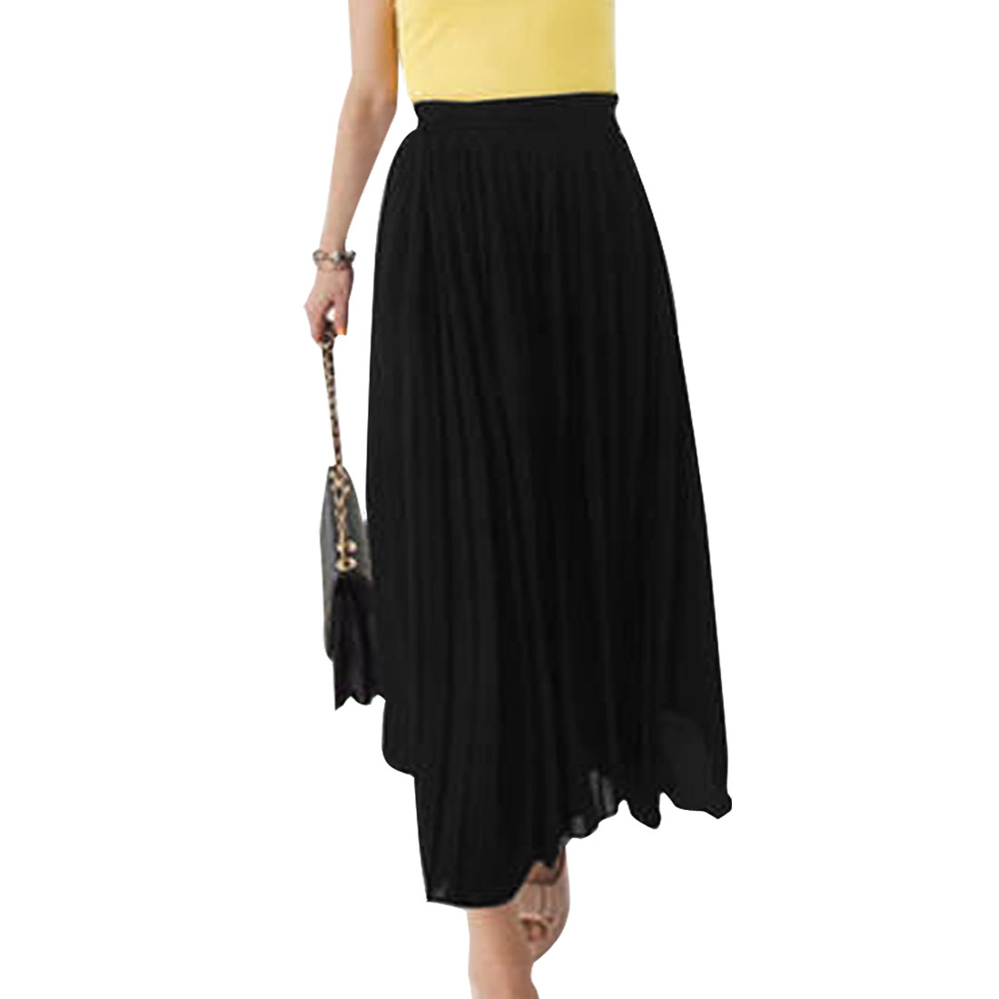Ladies Elastic Waist Pleated Front Casual Mid-Calf Skirt Black XS