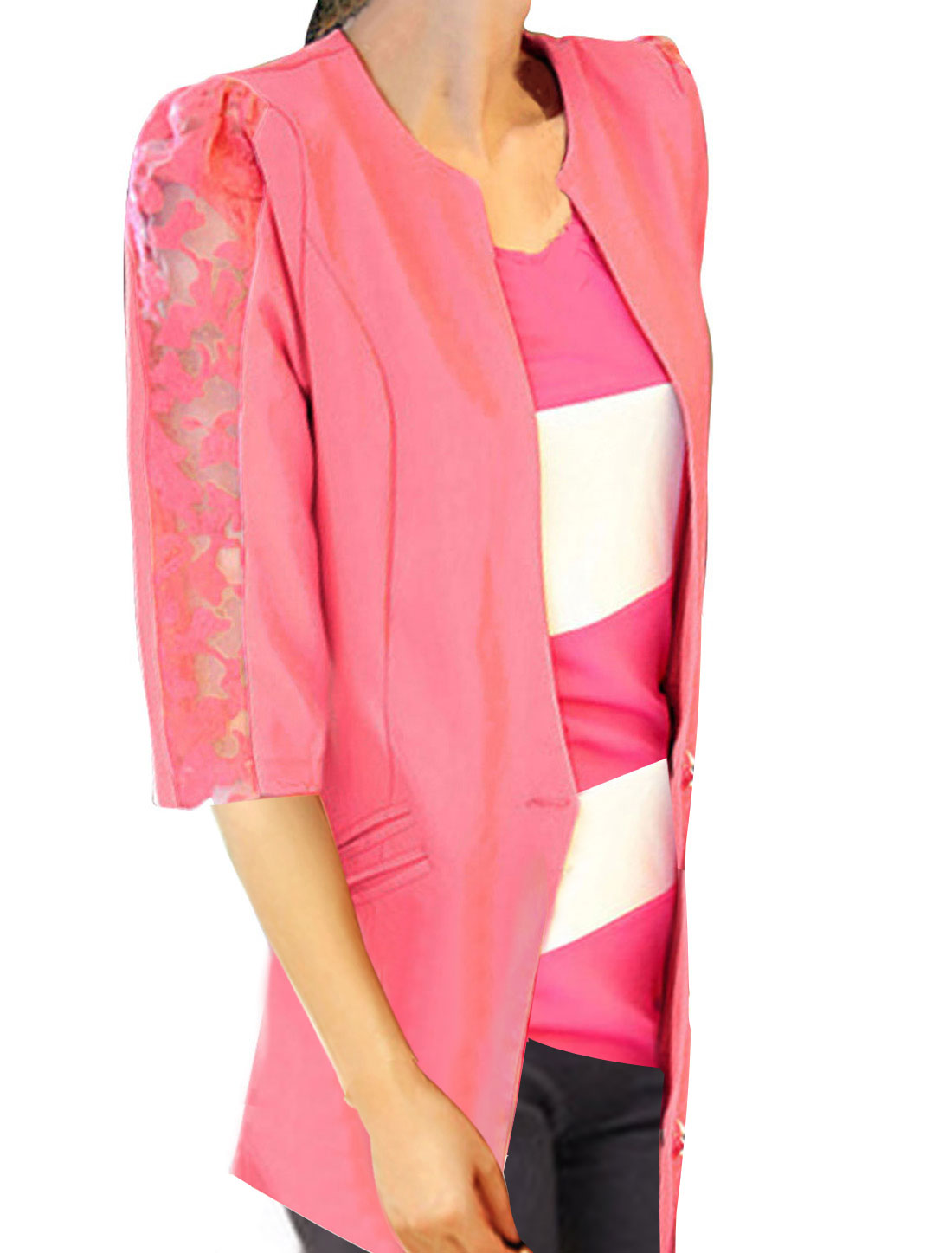 Ladies Round Neck Button Closure Half Sleeve Mock Pockets Blazer Pink XS