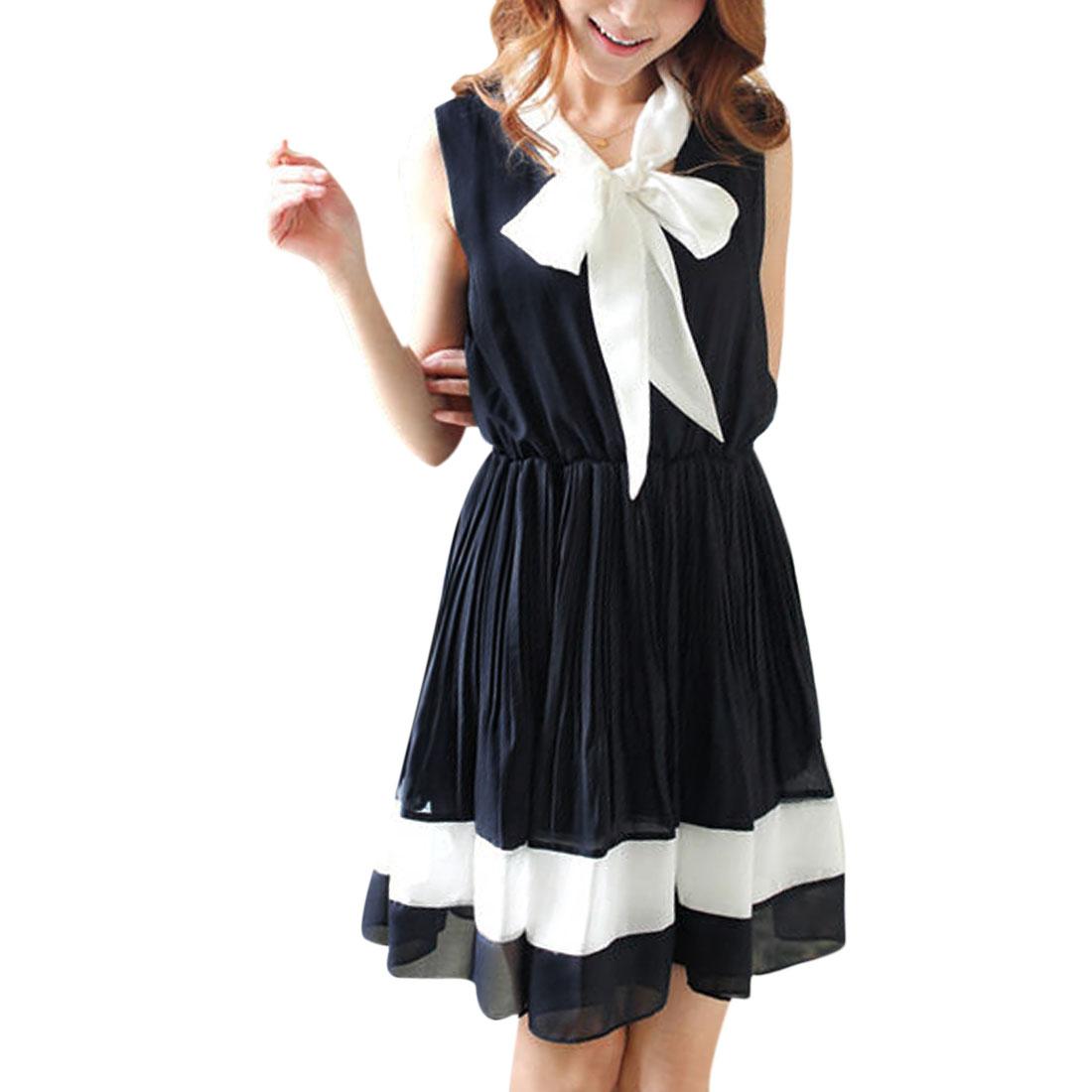 Ladies Pleated Chiffon Sleeveless A Line Elegant Dress Dark Blue S