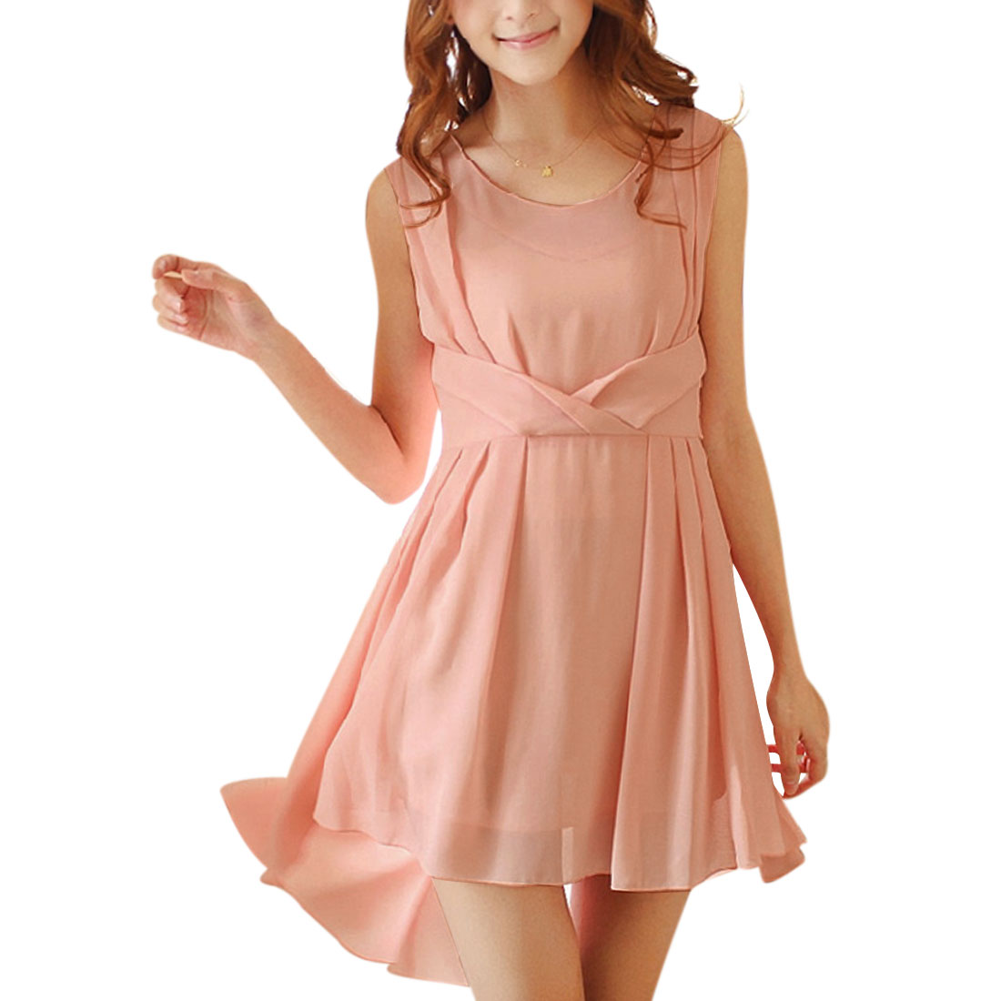 Women Zipper Up Scoop Neck Stretchy A Line Dress Pink XS