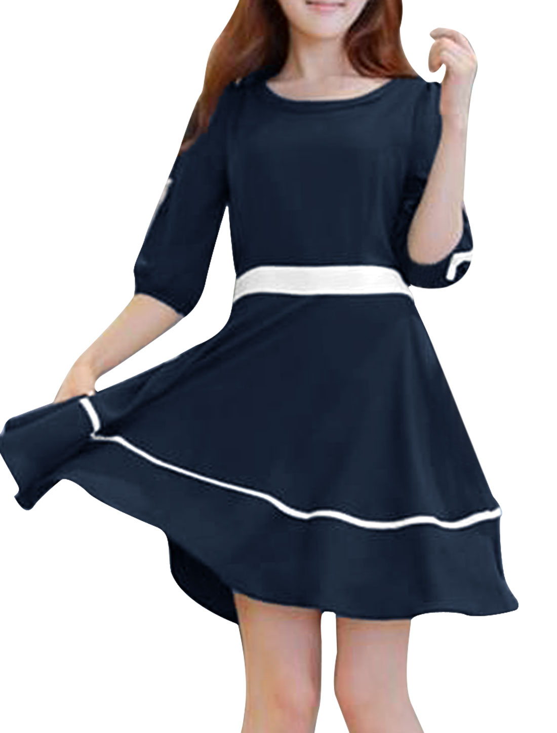 Women Chiffon Peter Pan Collar Zipper Up A Line Dress Dark Blue S