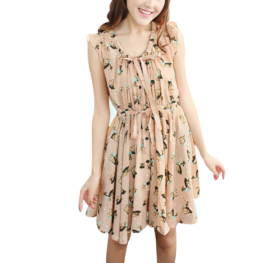 Ladies Above Knee Deer Prints Chiffon Drawstring Dress Apricot S
