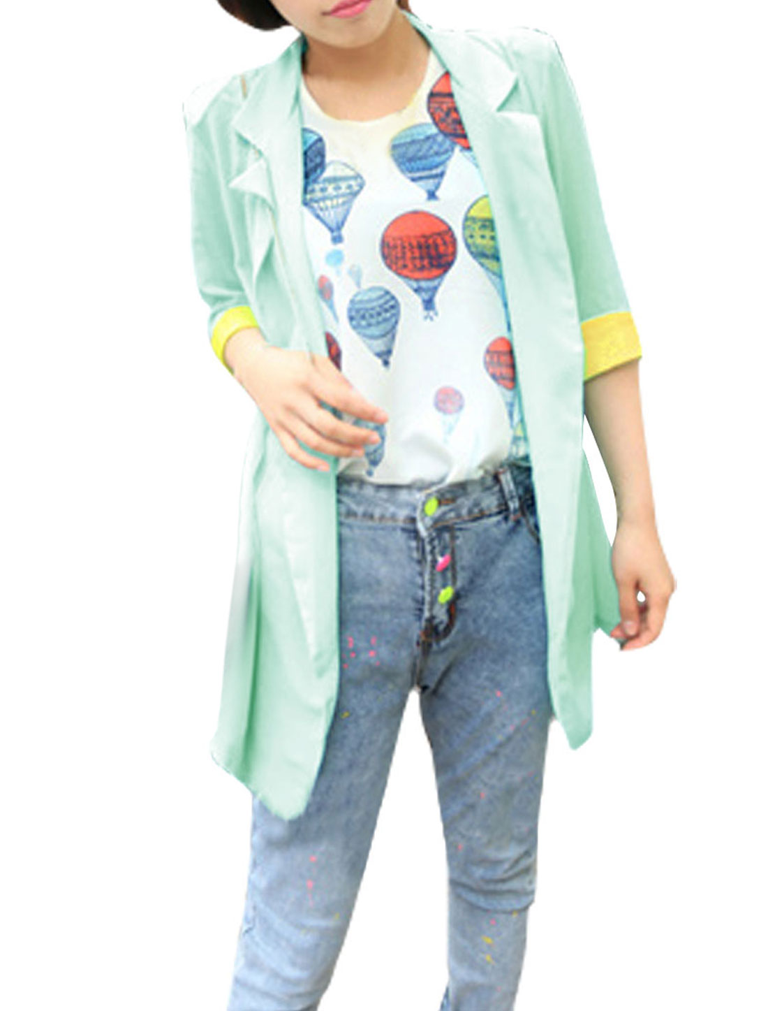 Ladies Peaked Lapel Open Front Half Sleeves Long Blazer Green S