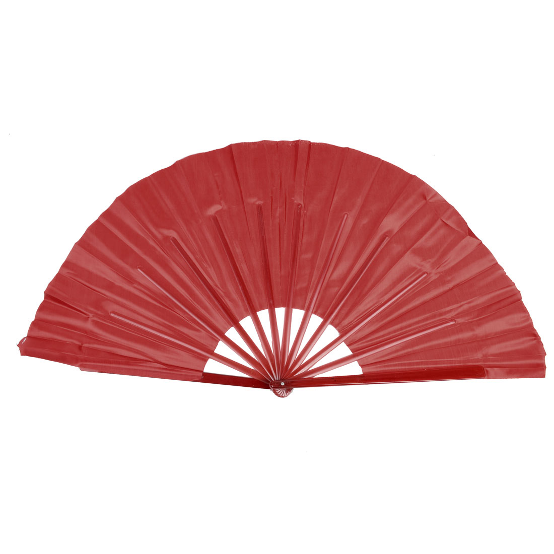 Folding Red Plastic Ribs Flutter Rim Chinese Folk Dancing Dance Hand Fan 2 Pcs