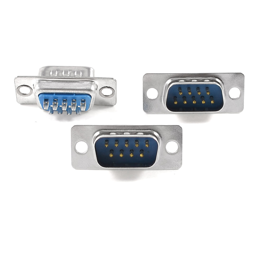 3 Pcs Computer VGA Type D-Sub 9 Pin Male Connector Blue Silver Tone