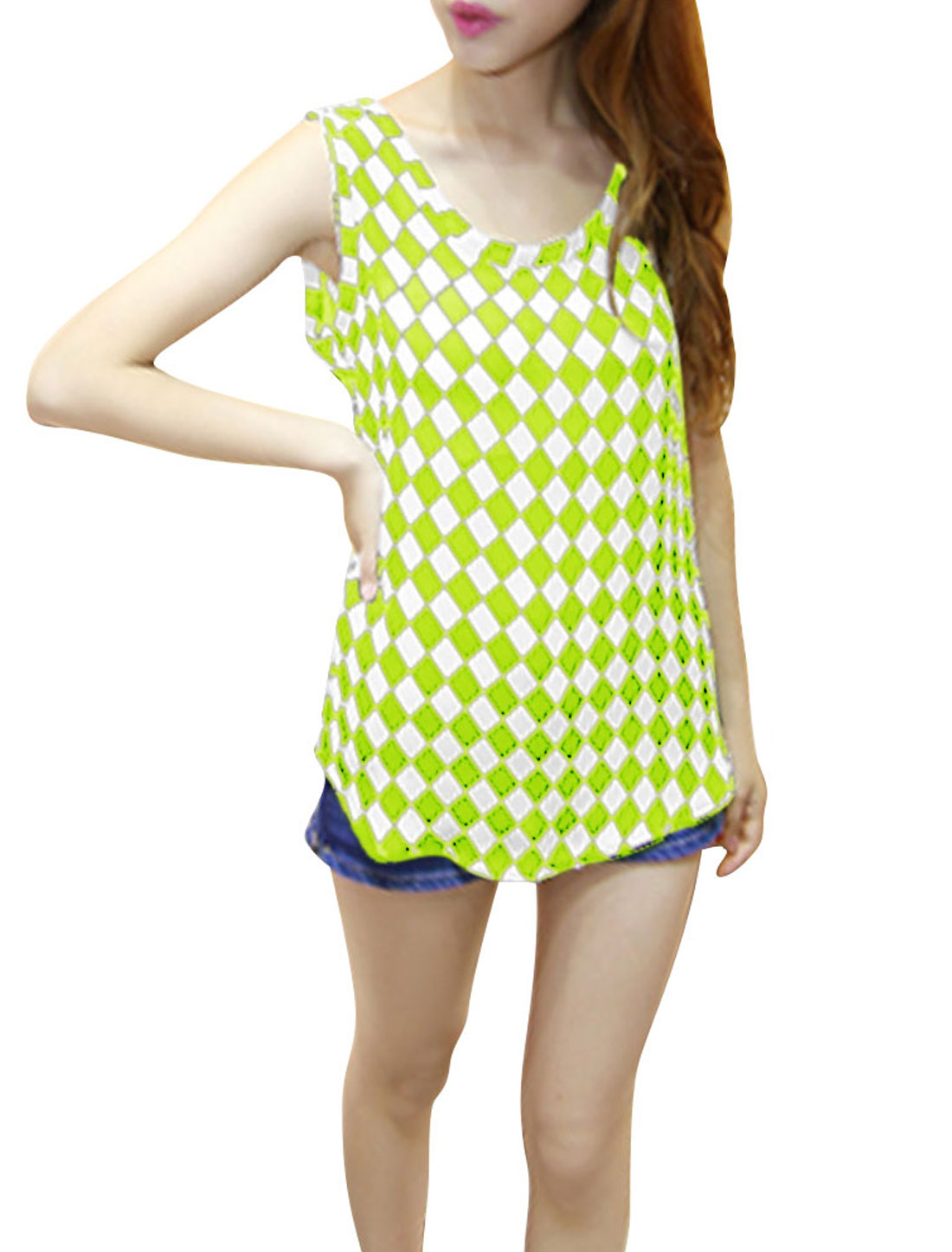 Ladies Plaids Chiffon Sleeveless Scoop Neck Shirt Florescent Green XS