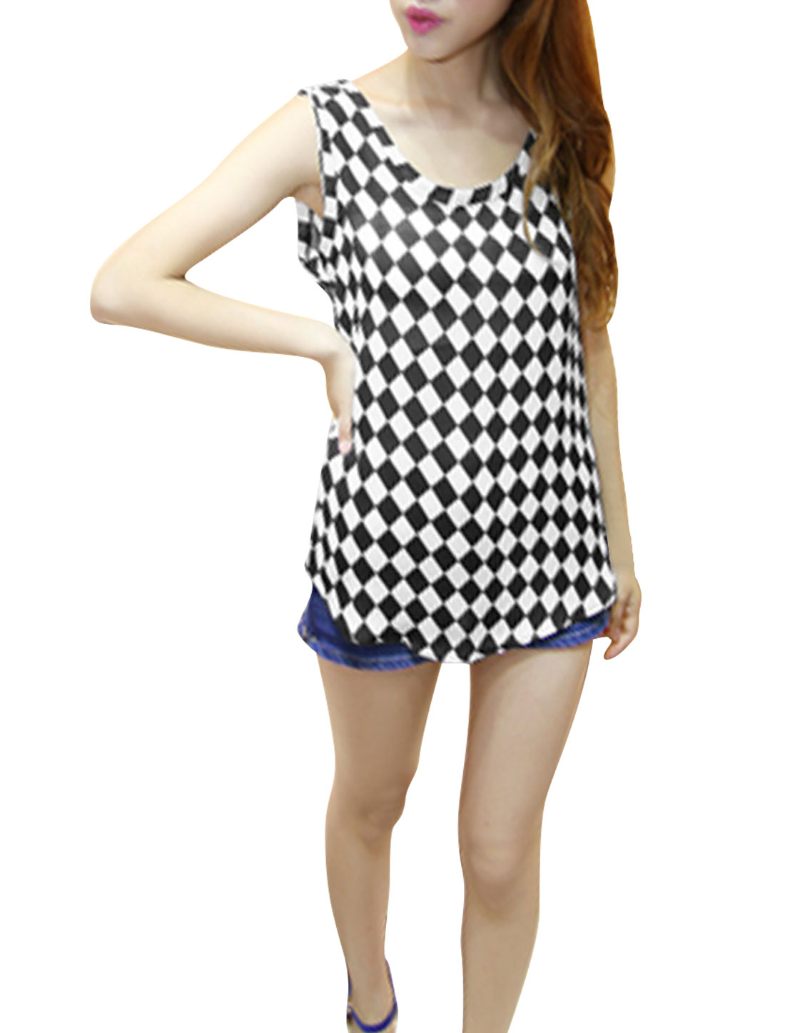 Women Softness Scoop Neck Check Pattern Casual Shirt Black XS