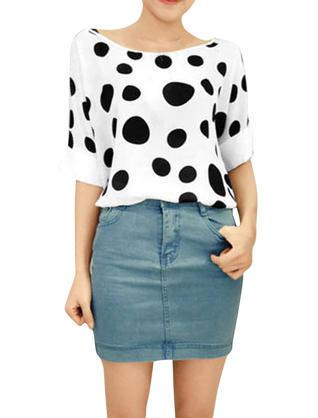Women Dots Prints Round Neck Leisure Chic Shirts White S