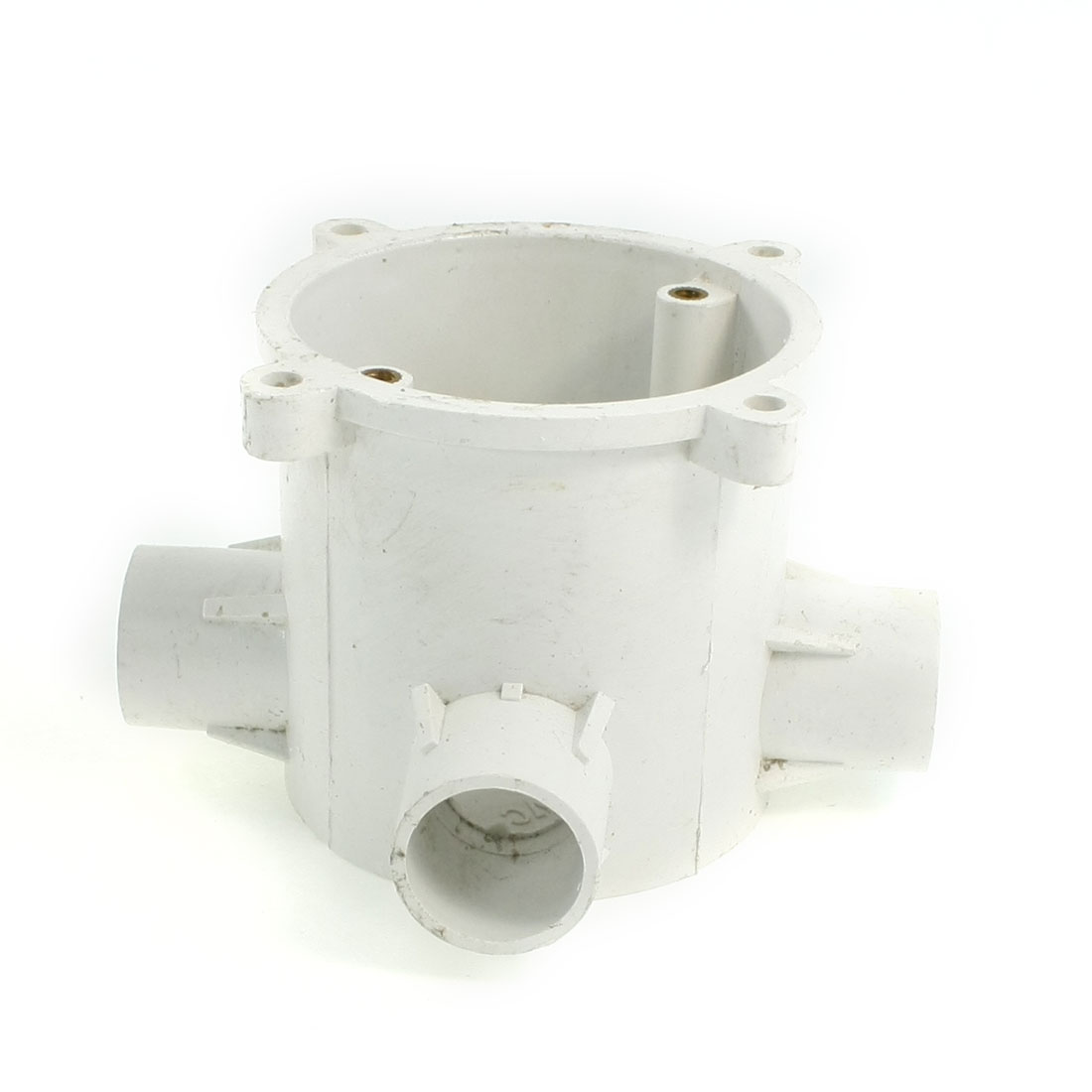 White PVC Flush Type Wall Mounted 3 Way Round Junction Box Case