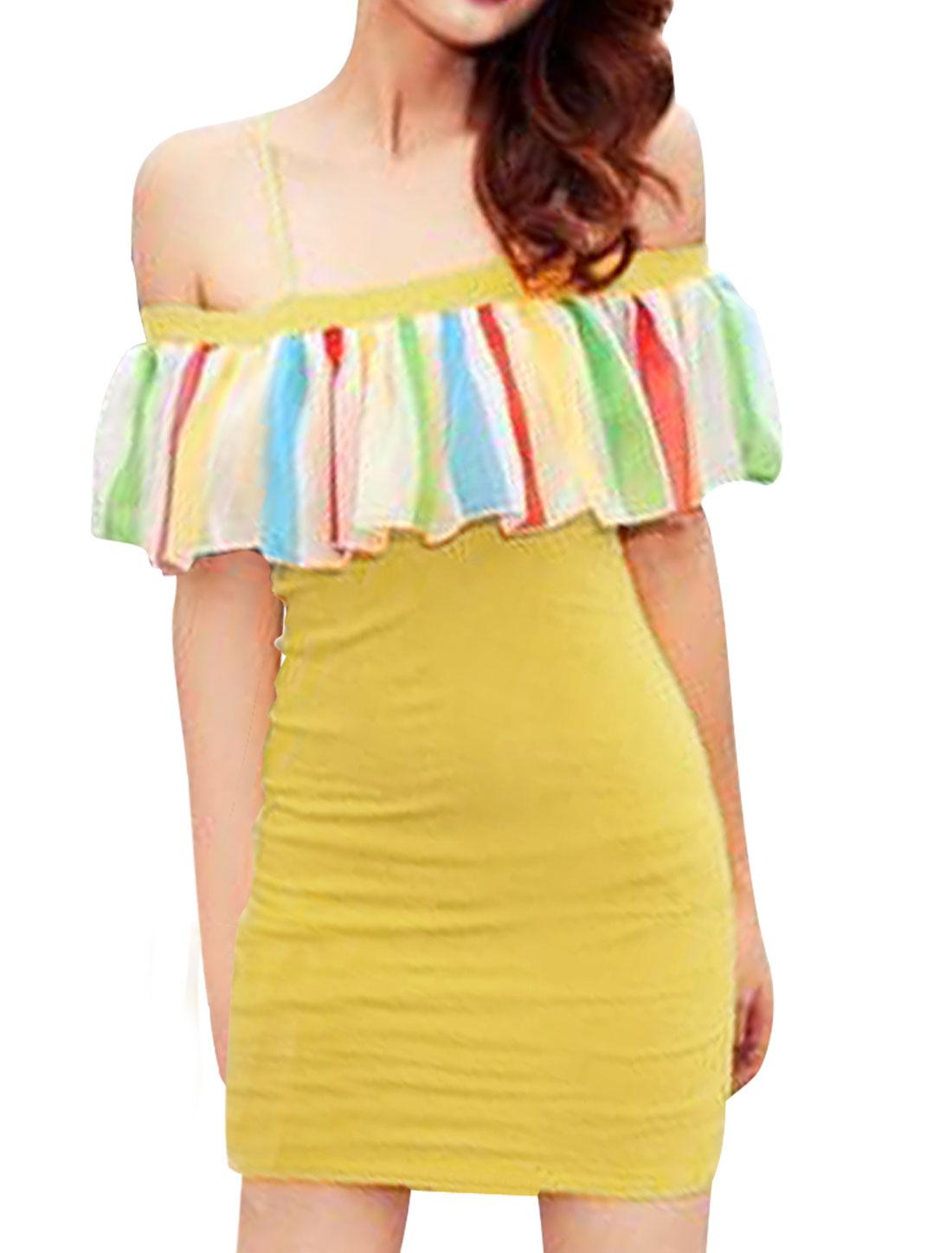 Ladies Spaghetti Straps Flutter Trim Mini Sheath Dress Yellow XS