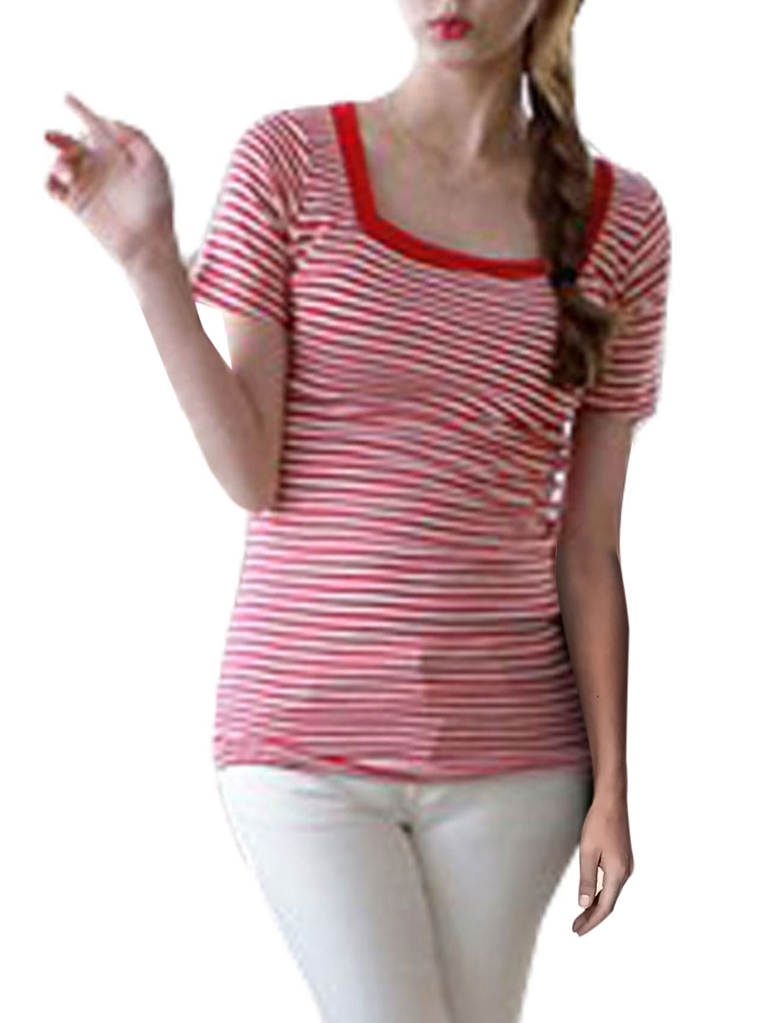 Woman New Style Square Neck Short Sleeve Red White Stripes Pattern Shirt XS