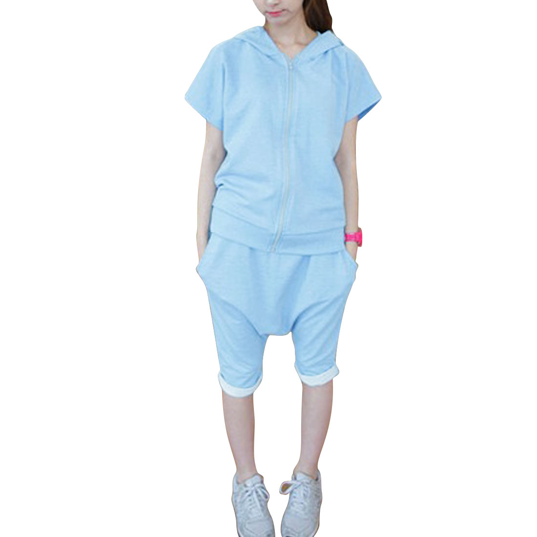 Women Zip Up Hooded Top w Drawstring Harem Shorts Sets Blue XS