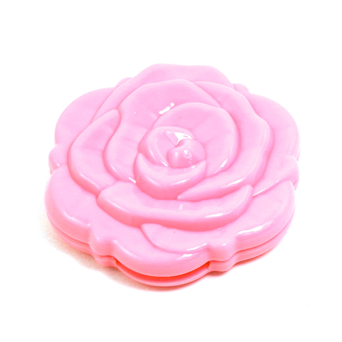 Lady Plastic Rose Pattern Round Shaped Two Side Folding Cosmetic Mirror Pink