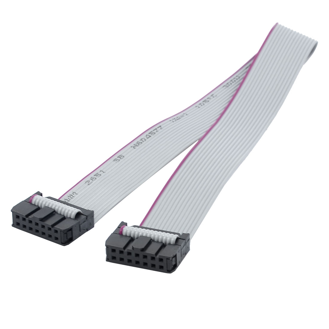 31cm Long 2.54mm Pitch 14 Pin Female to Female IDC Connector Ribbon Cable Gray