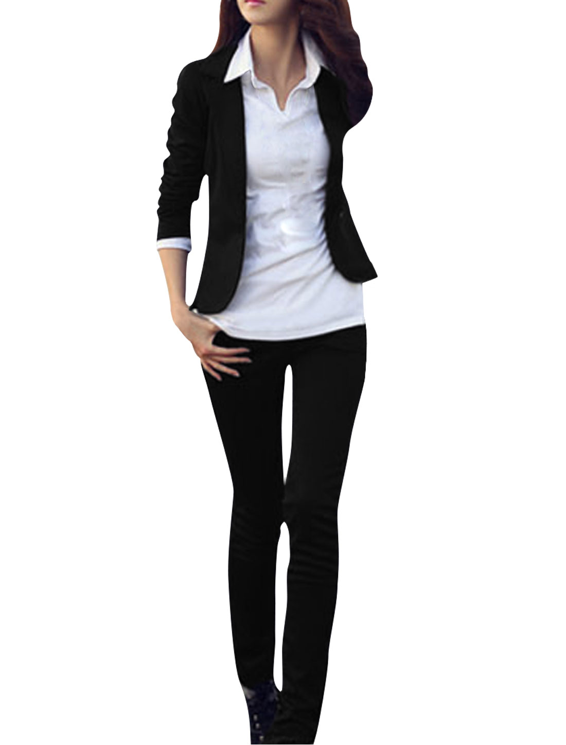 Women Black Long Sleeve One Button-fastening 100% Polyester Blazer XS