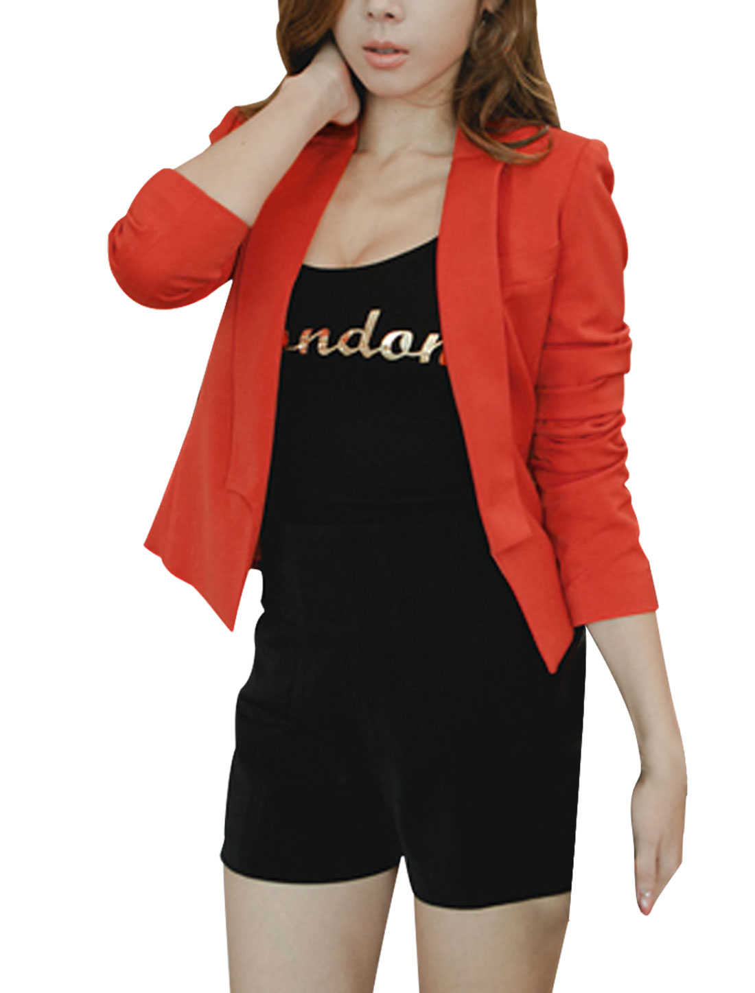 Women Dark Orange Long Sleeve Open Front Padded Shoulder Cropped Blazer M