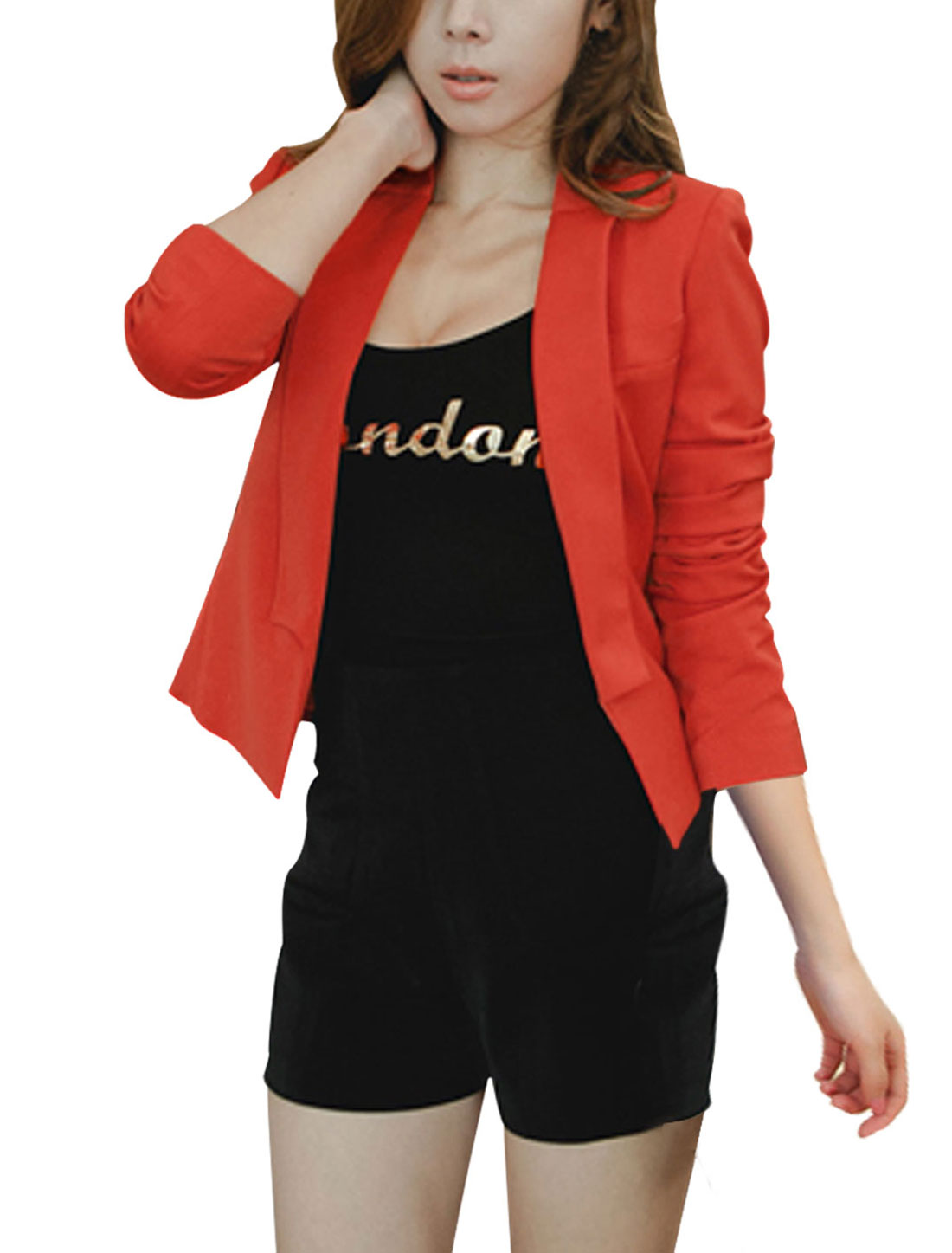 Lady Dark Orange Shawl Collar Long Sleeve Front Opening Casual Blazer S