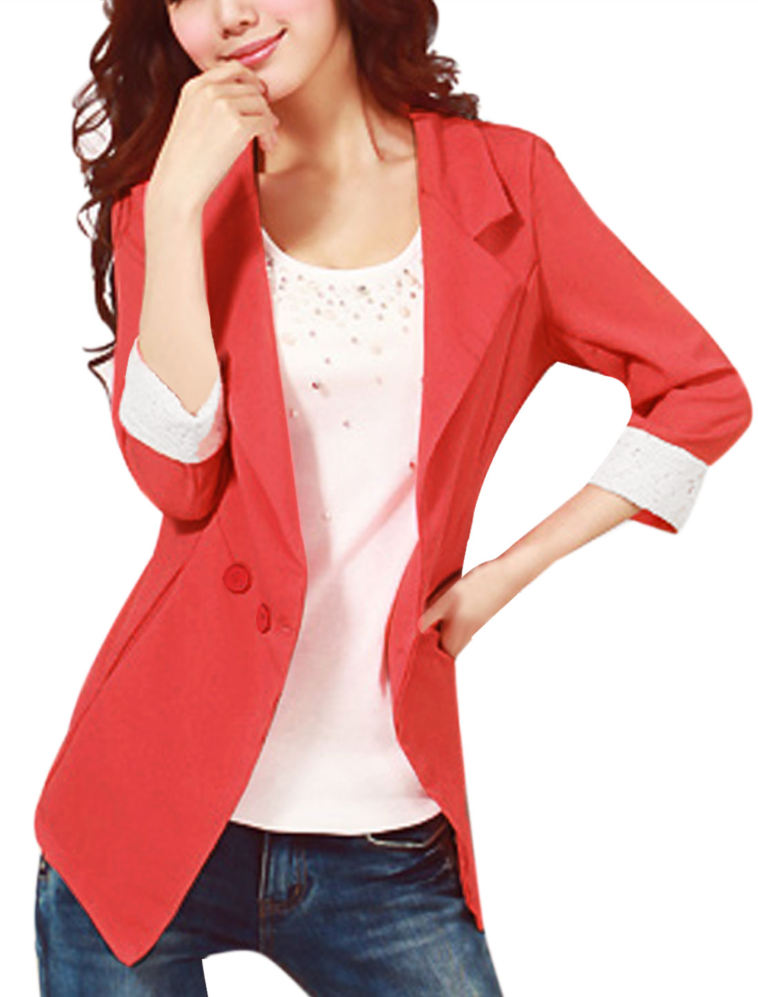Women Watermelon Red 3/4 Sleeve Padded Shoulder Single Button Closure Blazer M
