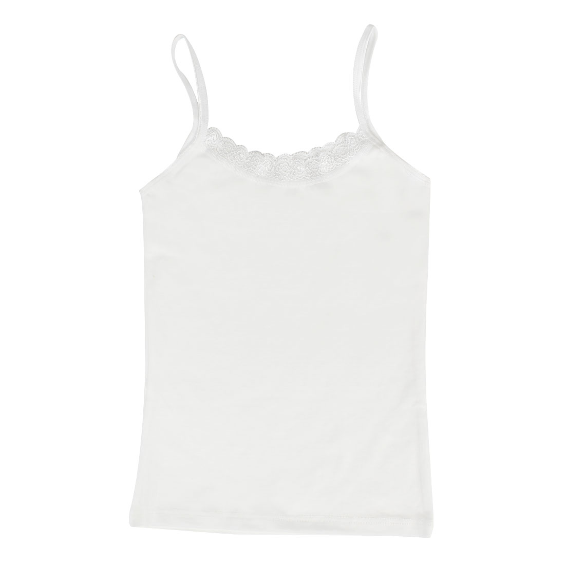 Women Close Fitting Solid White Stretchy Slip Tank Top XS