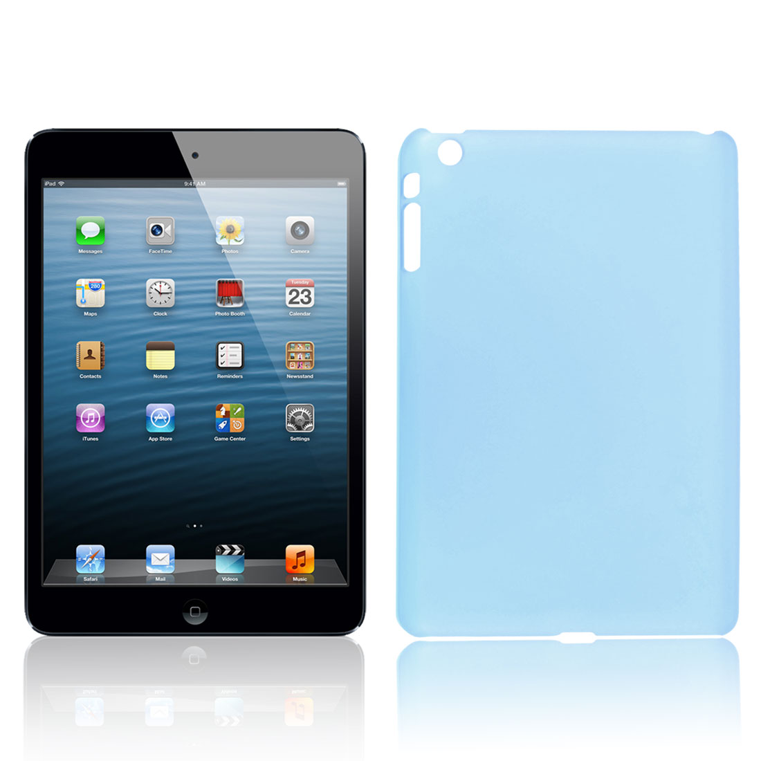 Hard Plastic Clear Blue Back Case Cover Shell for Apple iPad Mini