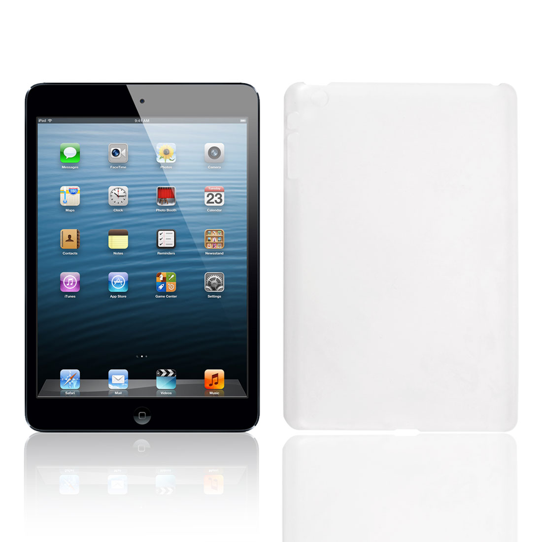 Hard Plastic Clear White Back Case Cover Protector for Apple iPad Mini