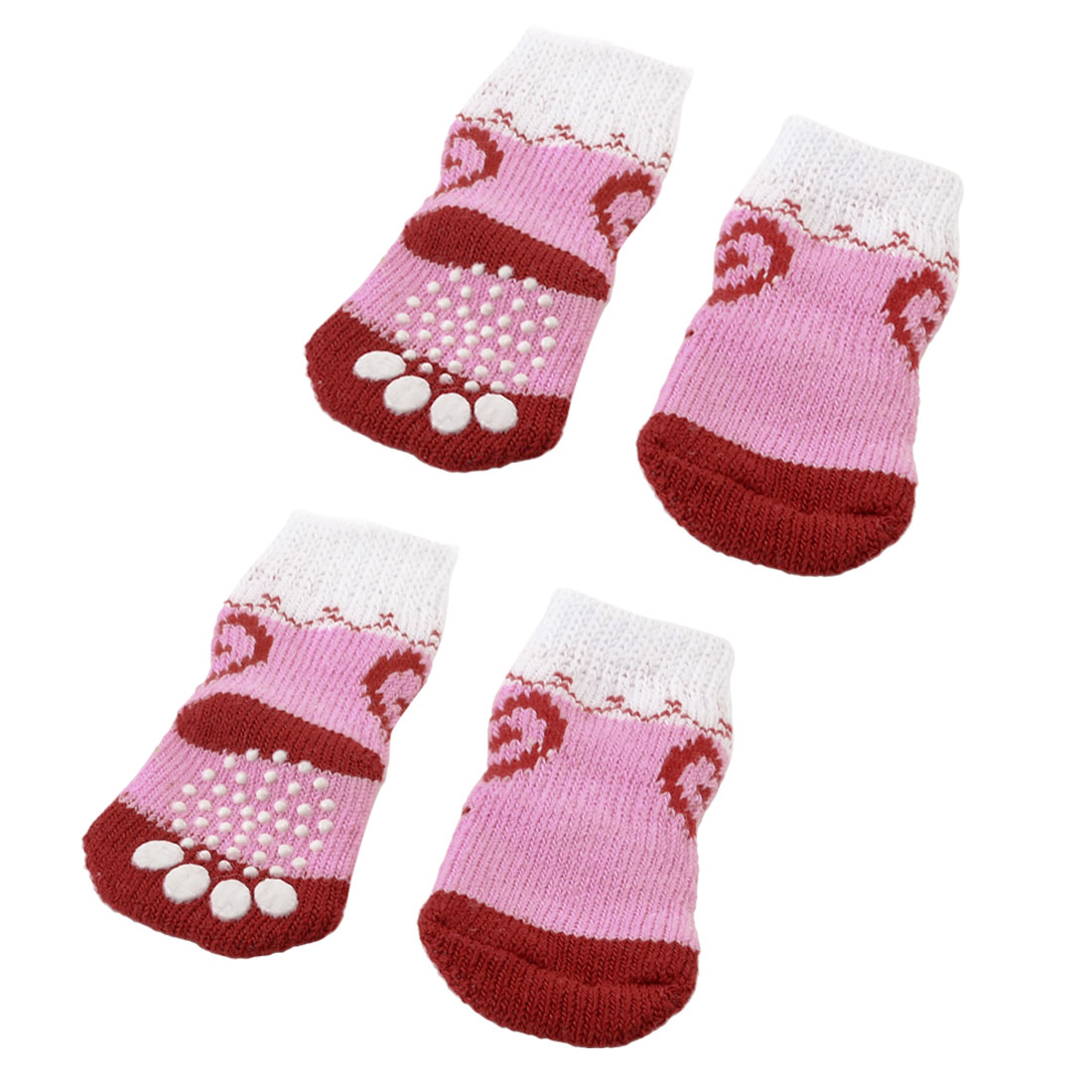 2 Pairs Red Pink Anti Slip Paw Pattern Stretchy Acrylic Pet Dog Puppy Doggie Socks