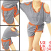 Ladies Cut Out Tops & Contrast Color Leisure Shorts Light Gray S