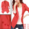 Lady Watermelon Red Notched Lapel Padded Shoulder One Button Closure Blazer L