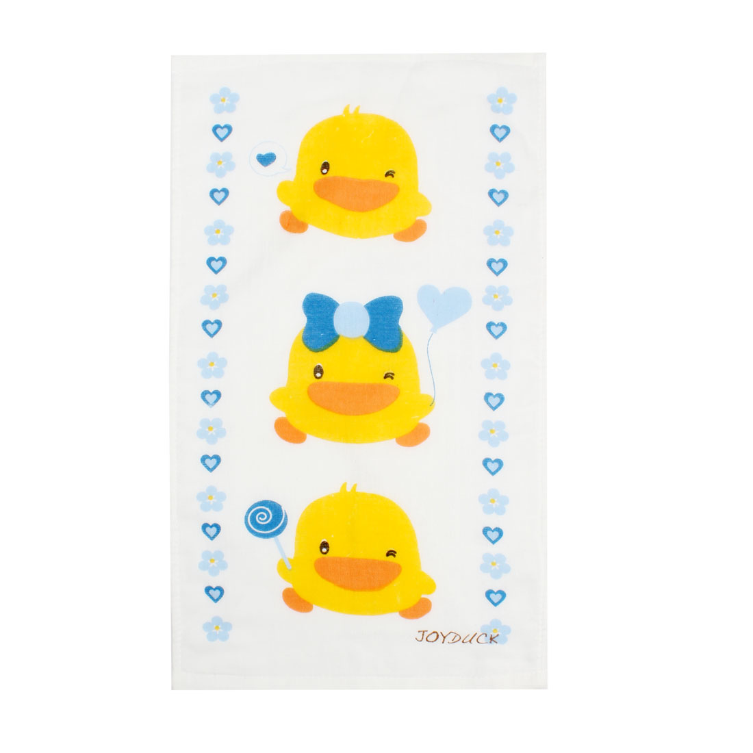 Yellow Duck Pattern Rectangle Face Washcloth Towel White Blue 51cm x 28cm