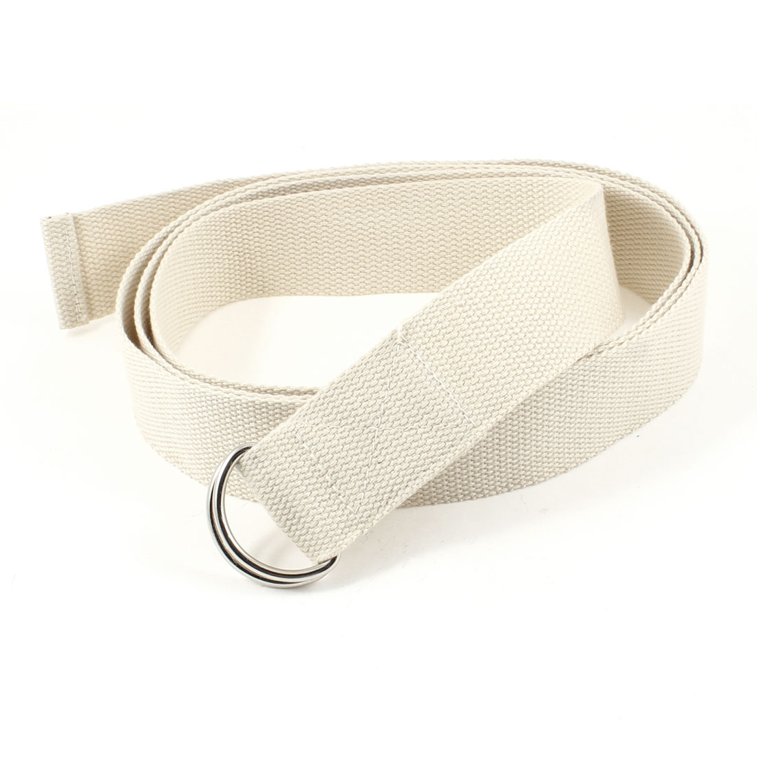 Dual D-Ring Design Yoga Stretch Strap Belt Beige 3.8cm Width for Ladies Woman
