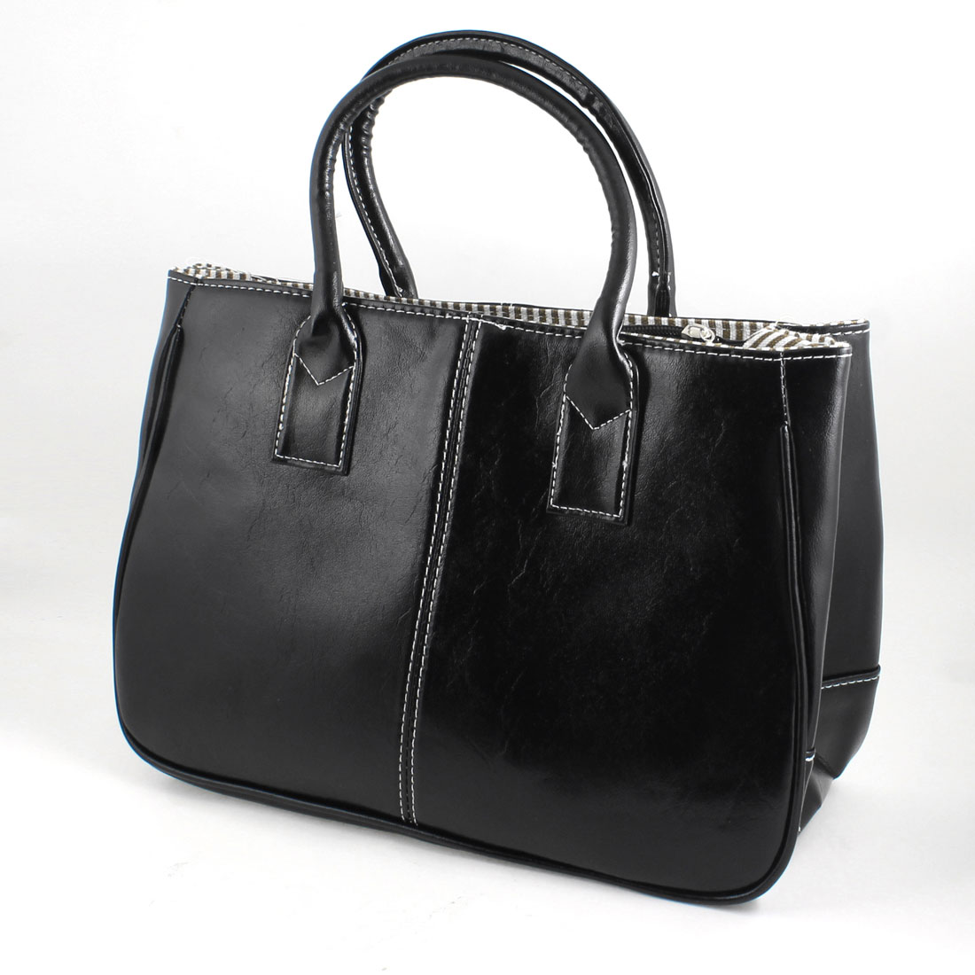 Faux Leather Magnetic Button Closure Tote Bag Handbag Black for Women