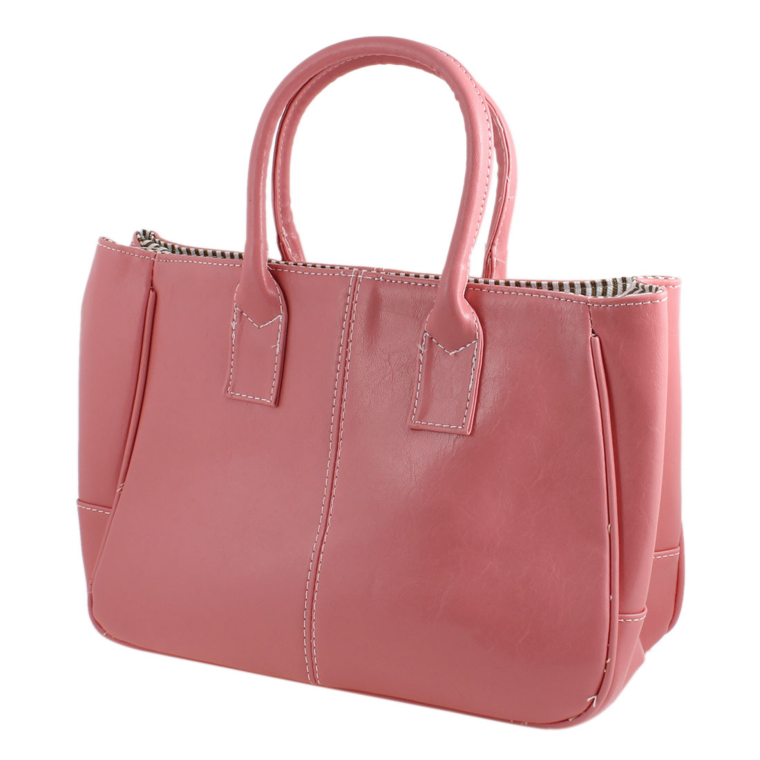 Faux Leather Magnetic Button Closure Tote Bag Handbag Pink for Women