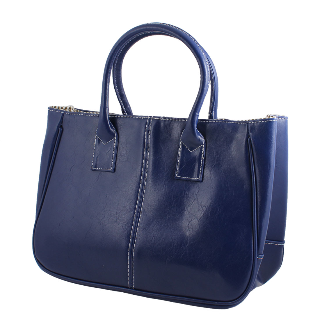 Faux Leather Magnetic Button Closure Tote Bag Handbag Dark Blue for Women