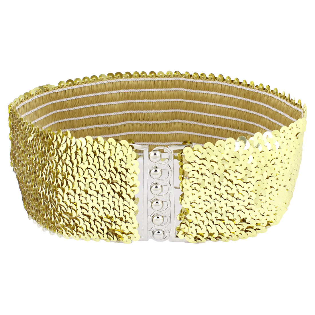Ladies Sequin Link Decor Stretchy Waistband Cinch Waist Belt Gold Tone